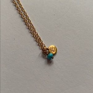 Satya gold necklace w/ turquoise & gold pendant